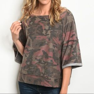 NEW Pink Camo knit sweater top